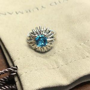 David Yurman Blue topaz starbursts ring